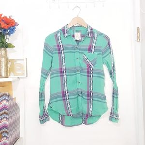 American Eagle | Vintage Boyfriend Plaid Top